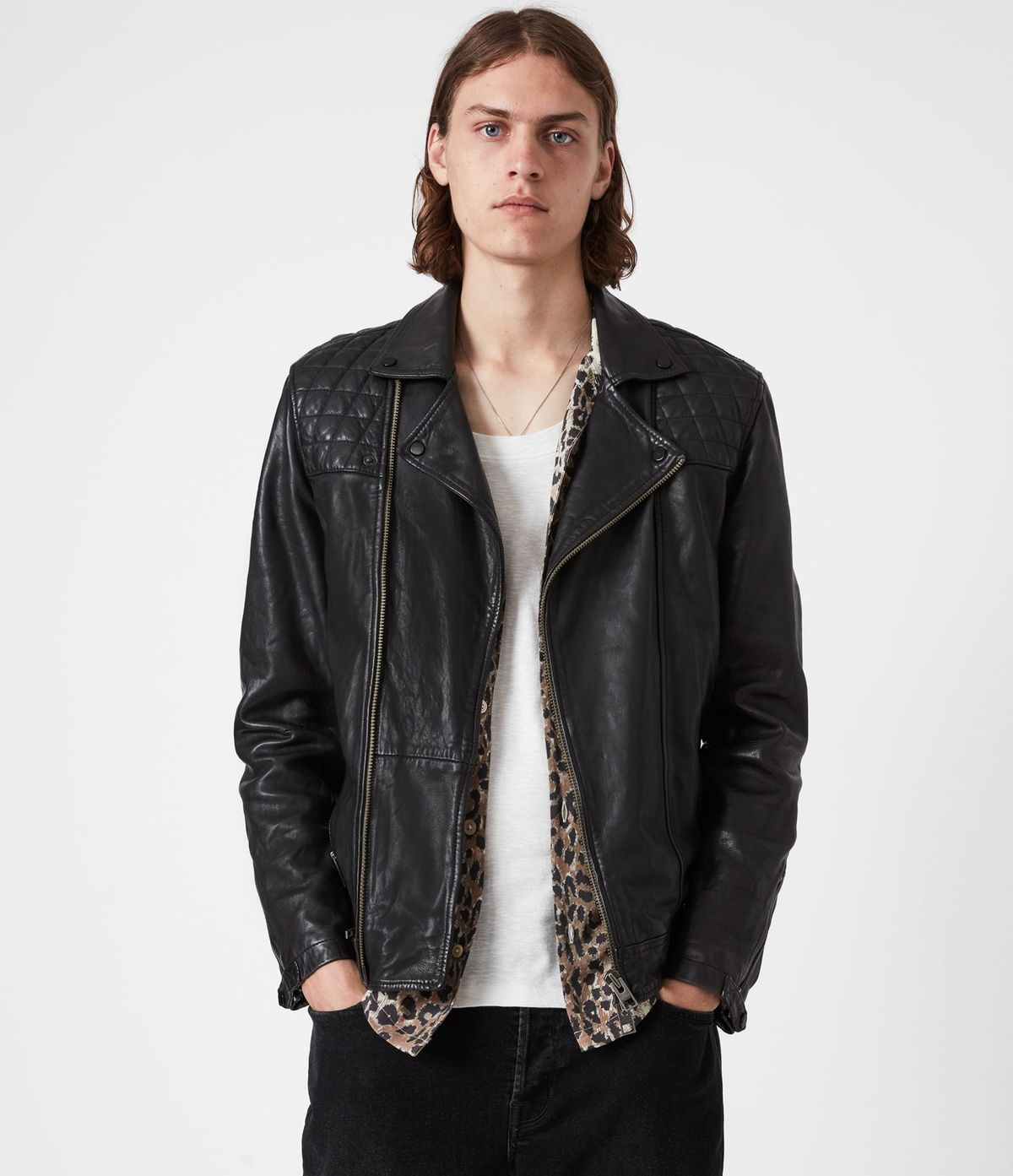 Men's Conroy Leather Jacket - Front View
