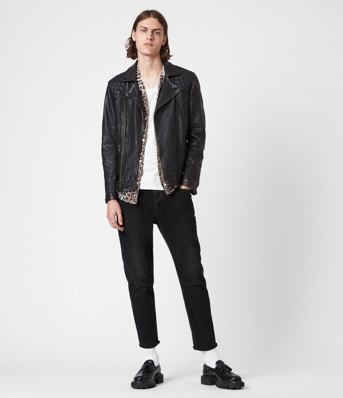 Men's Conroy Leather Jacket - Outfit Front View