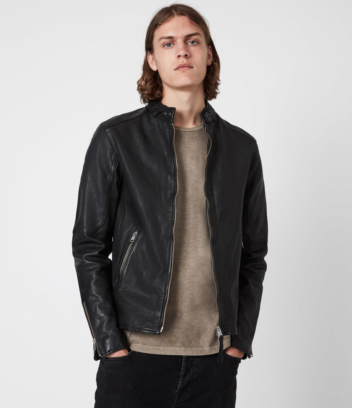 Men's Cora Leather Jacket - Front View