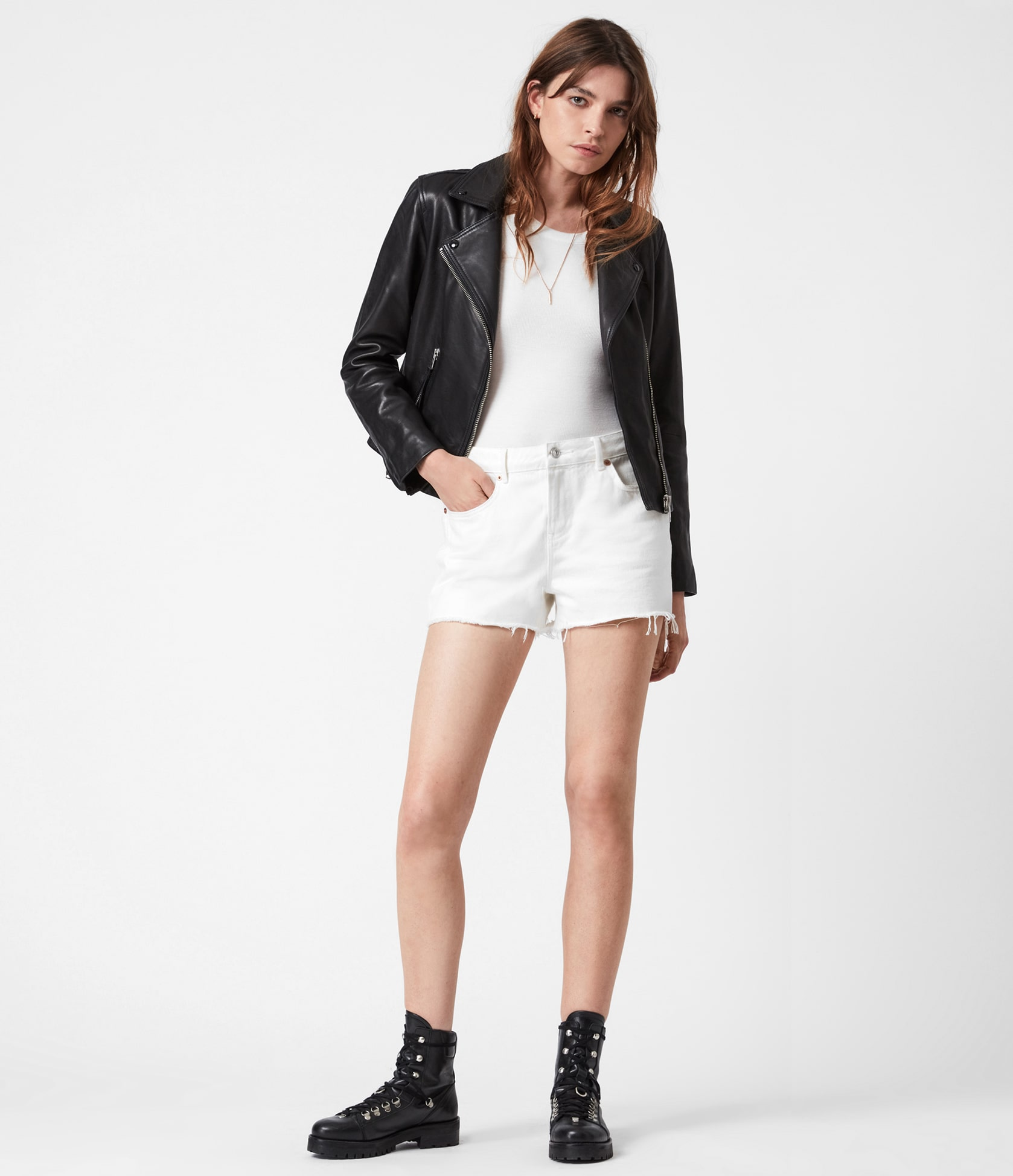 Women's Dalby Leather Jacket - Outfit Front View