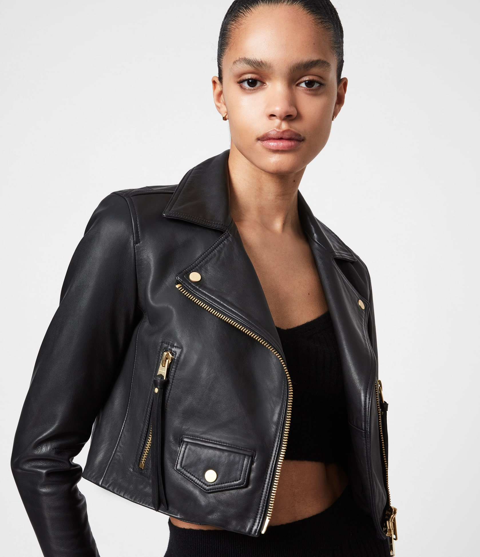 Women's Elora Leather Jacket - Front View