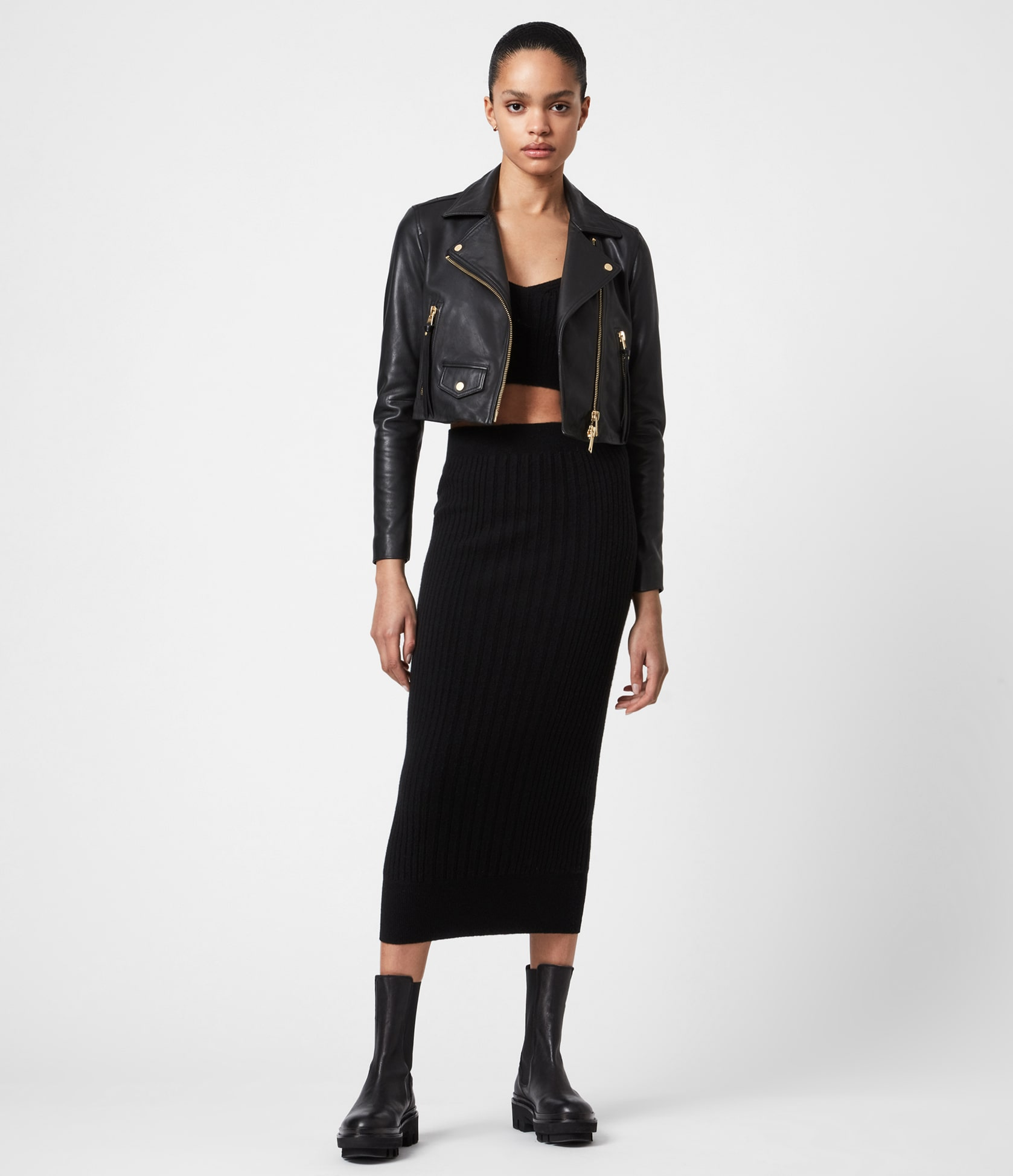 Women's Elora Leather Jacket - Outfit Front View