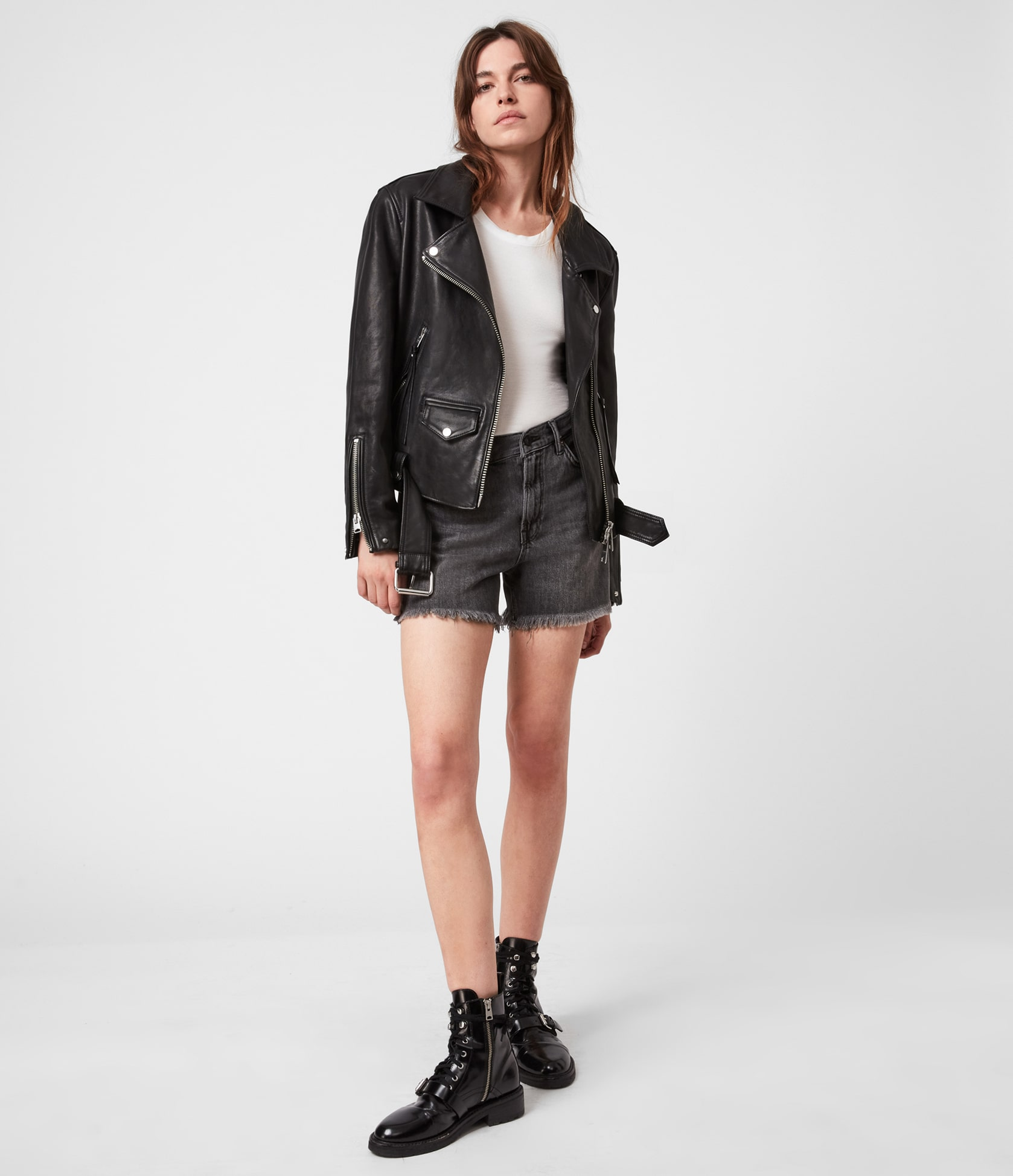 Women's Luna Leather Jacket - Outfit Front View