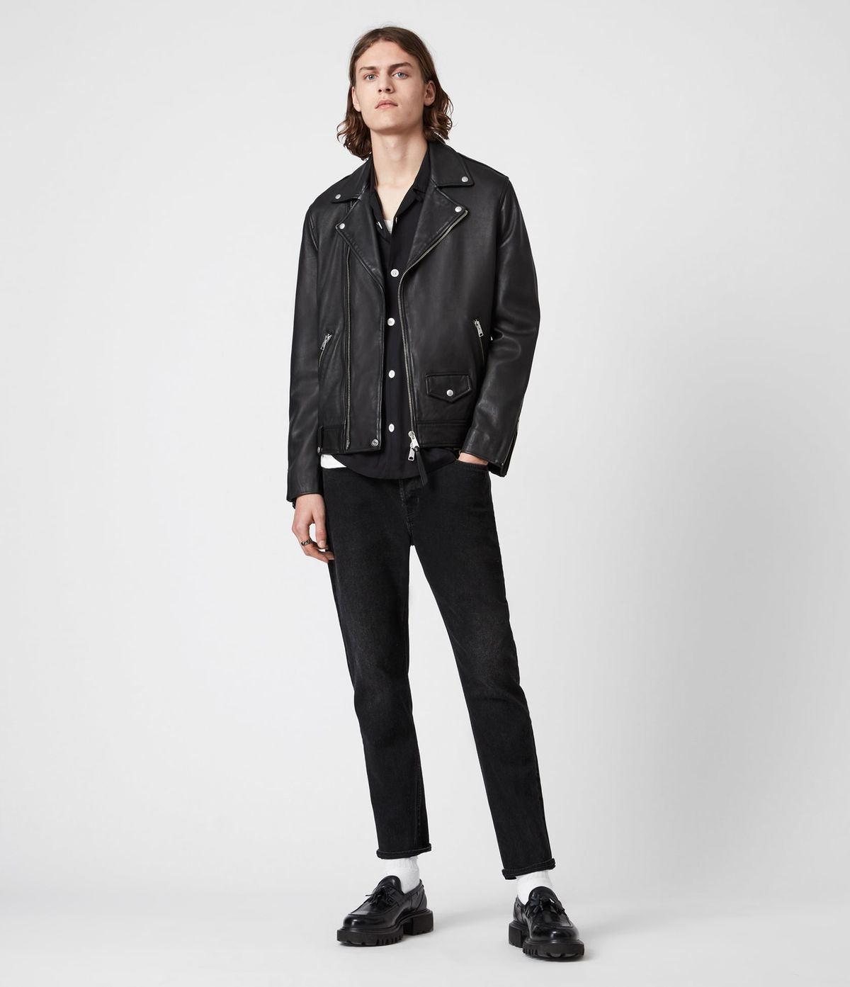 Men's Milo Leather Jacket - Outfit Front View