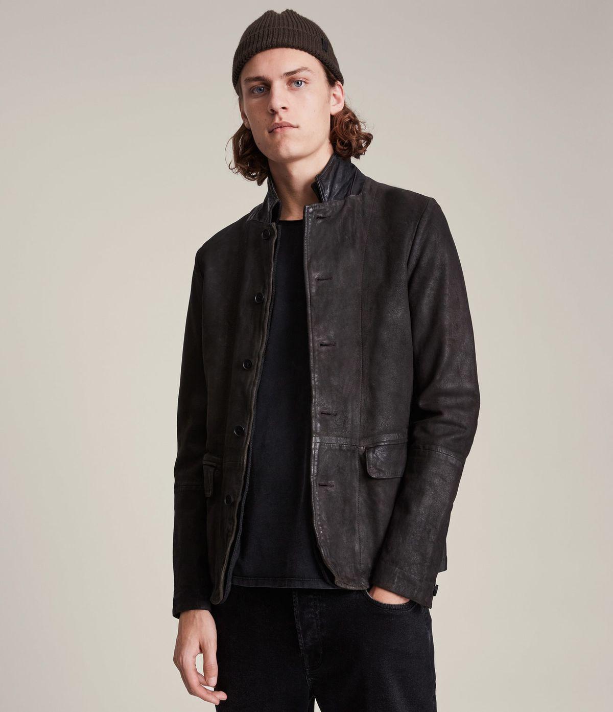 Men's Survey Leather Jacket - Front View