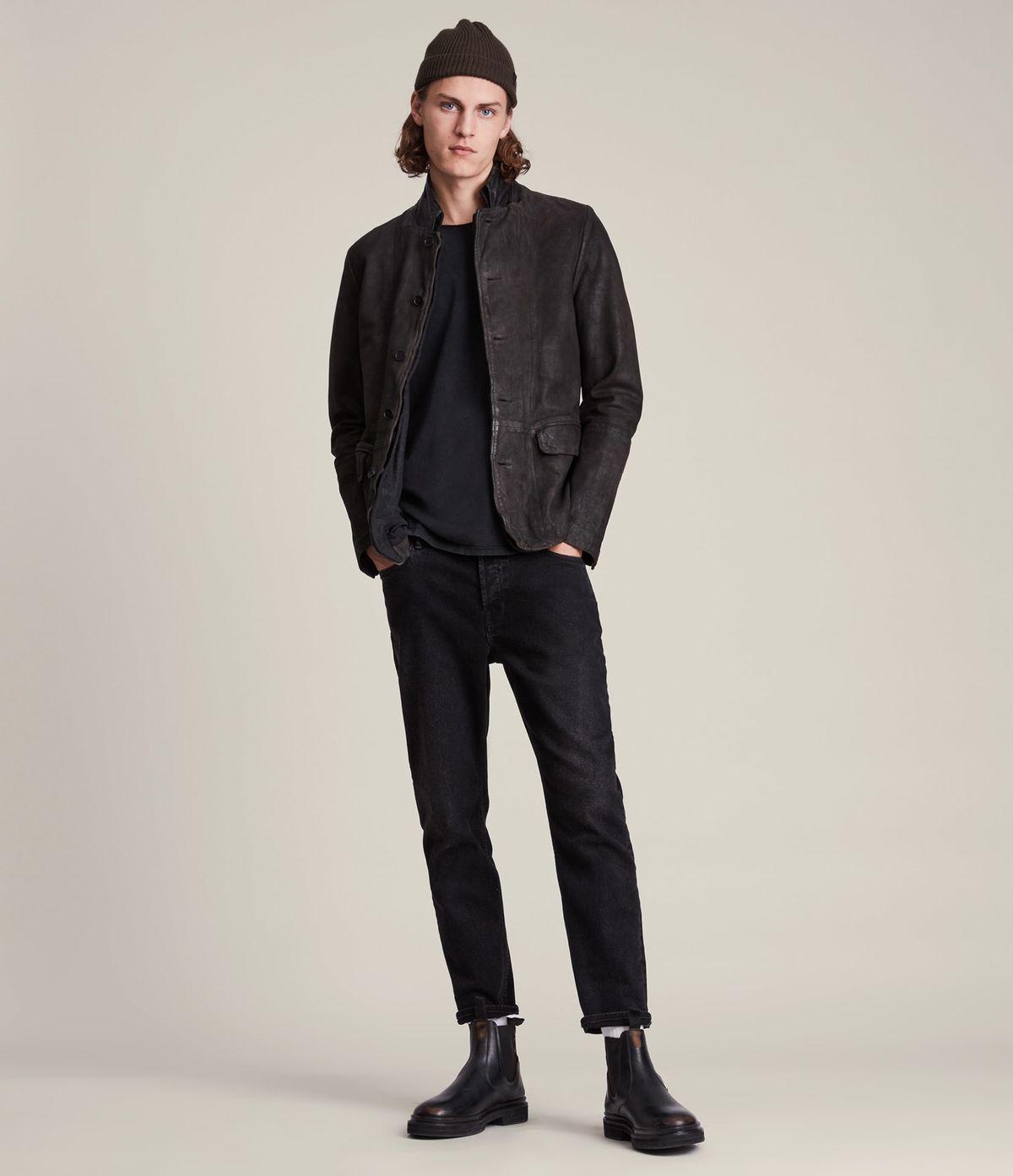 Men's Survey Leather Jacket - Outfit Front View