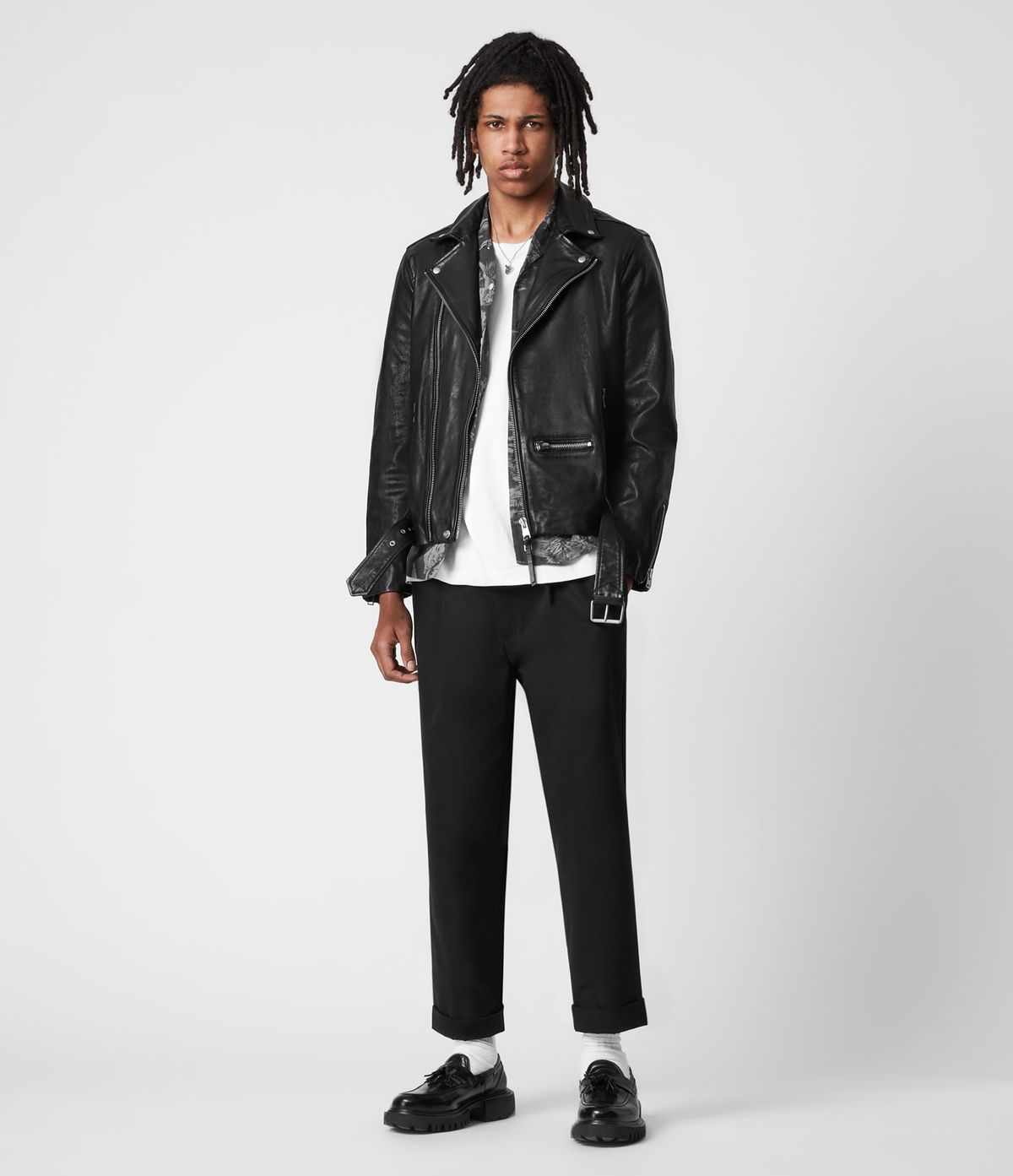 Men's Wick Leather Jacket - Outfit Front View
