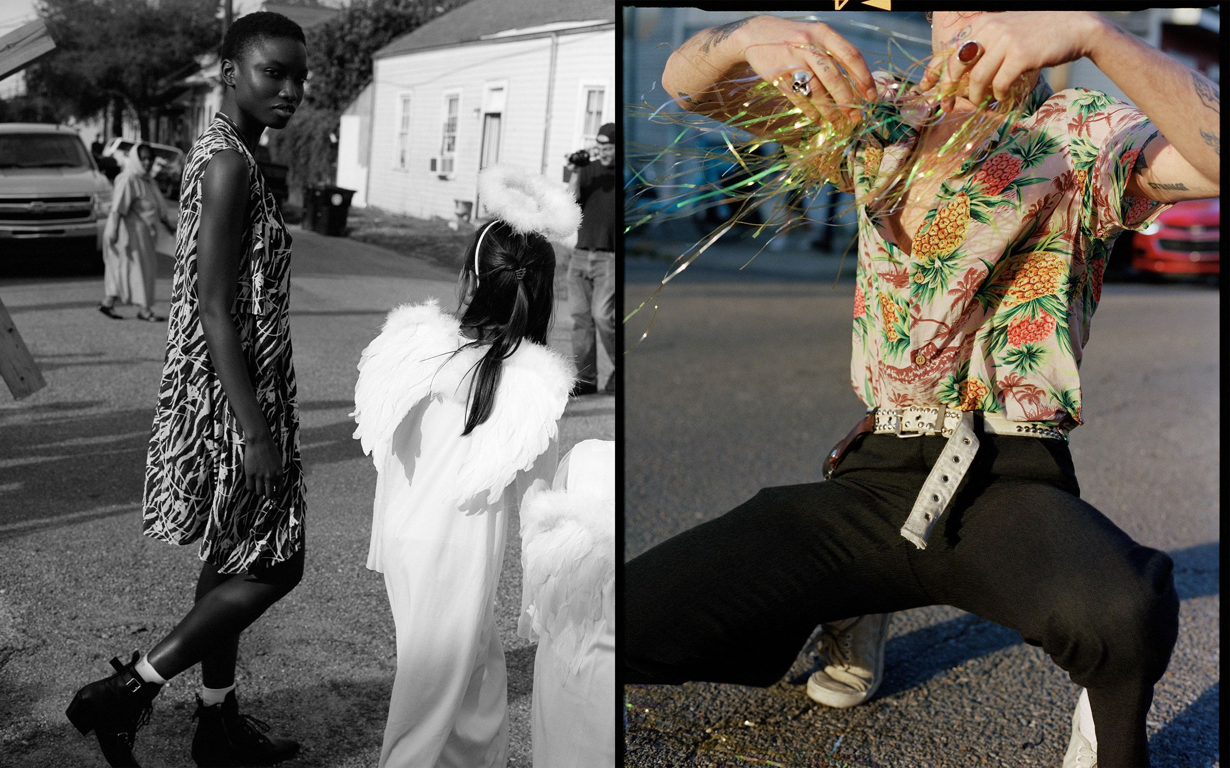 Two photographs from our Lost In New Orleans campaign, depicting a black-and-white image of a young woman crossing the road in a graphic short-length dress, and a young man wearing a Hawaiian shirt crouched down in the street.