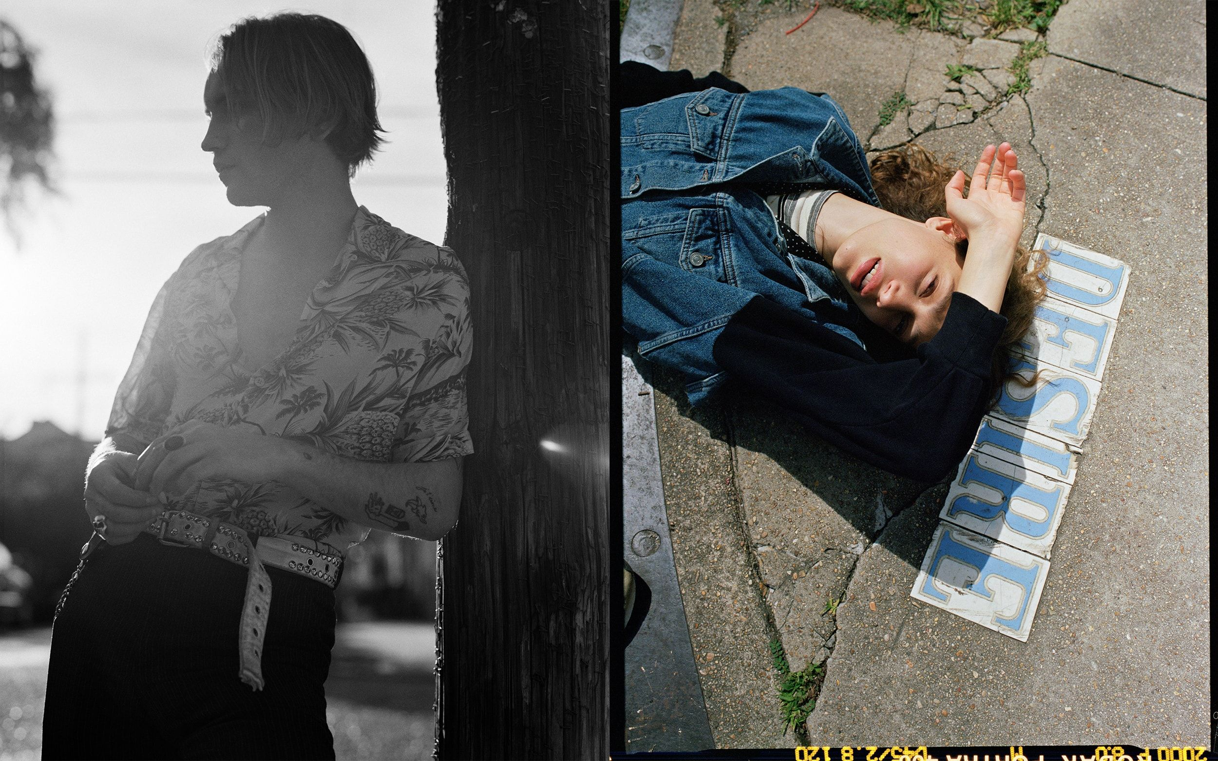 Two photographs from our Lost In New Orleans campaign, depicting a black-and-white image of a young man leaning against a tree wearing a printed Hawaiian shirt, and a photograph of a young woman lying in the street wearing a denim jacket.
