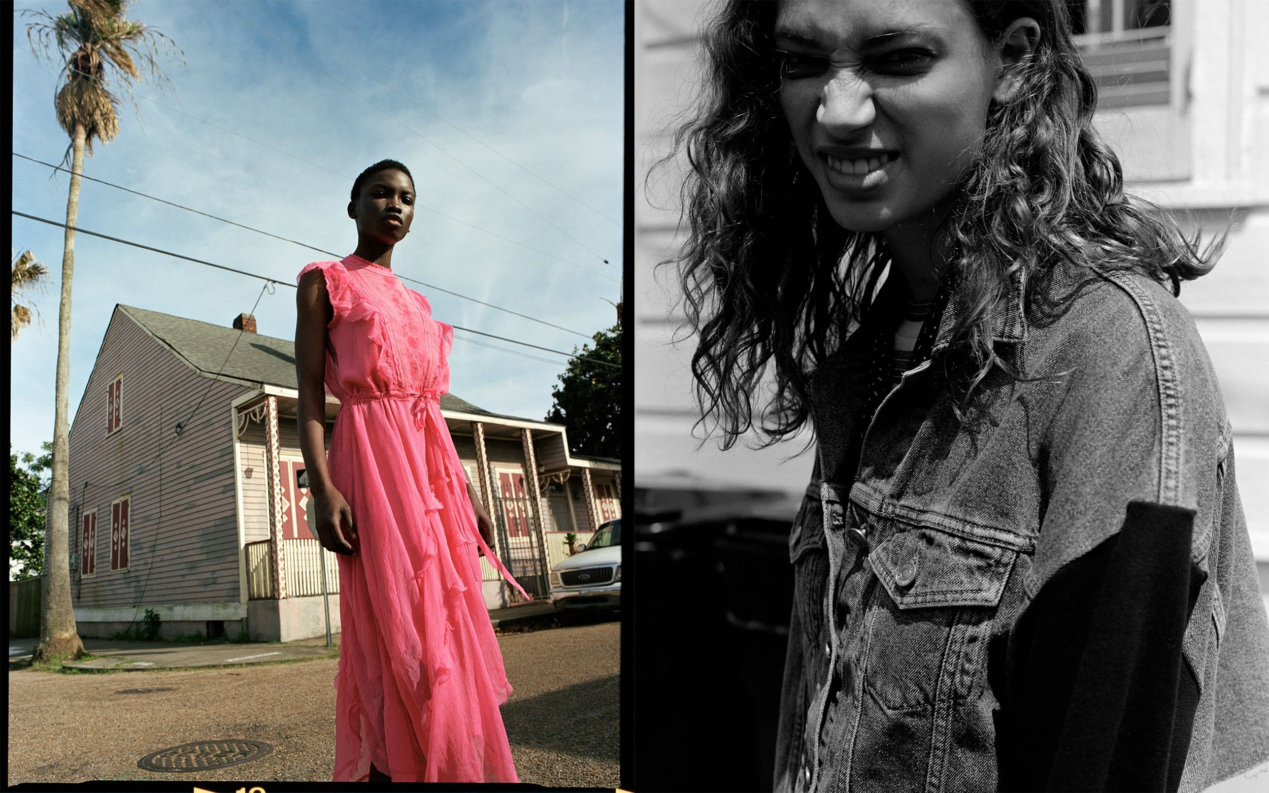 Two photographs from our Lost In New Orleans campaign, depicting an image of a young woman in the street wearing a vibrant pink dress, and a black-and-white portrait of a young woman wearing a denim jacket.