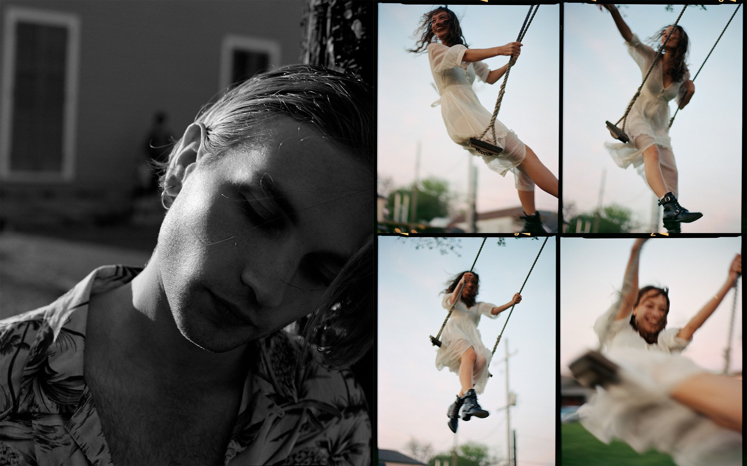 Two photographs from our Lost In New Orleans campaign, depicting a close-up black-and-white portrait of a young man in a graphic Hawaiian shirt, and a young woman wearing a white dress swinging on a swing.