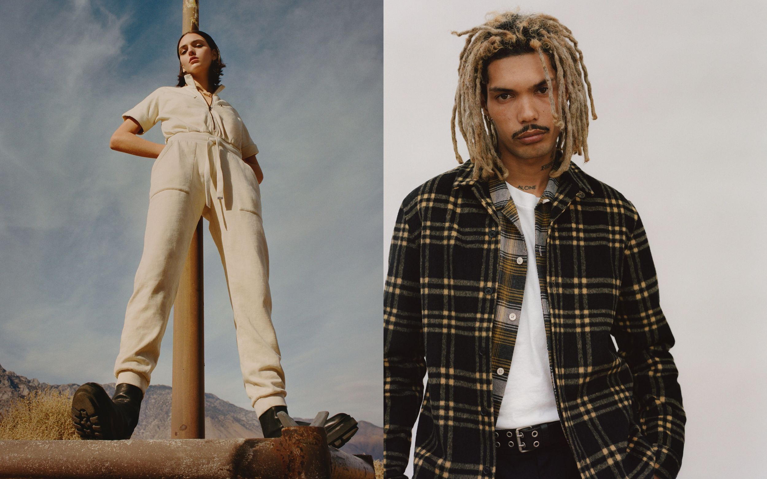 Two portraits of a man and a woman wearing items from our latest collection.