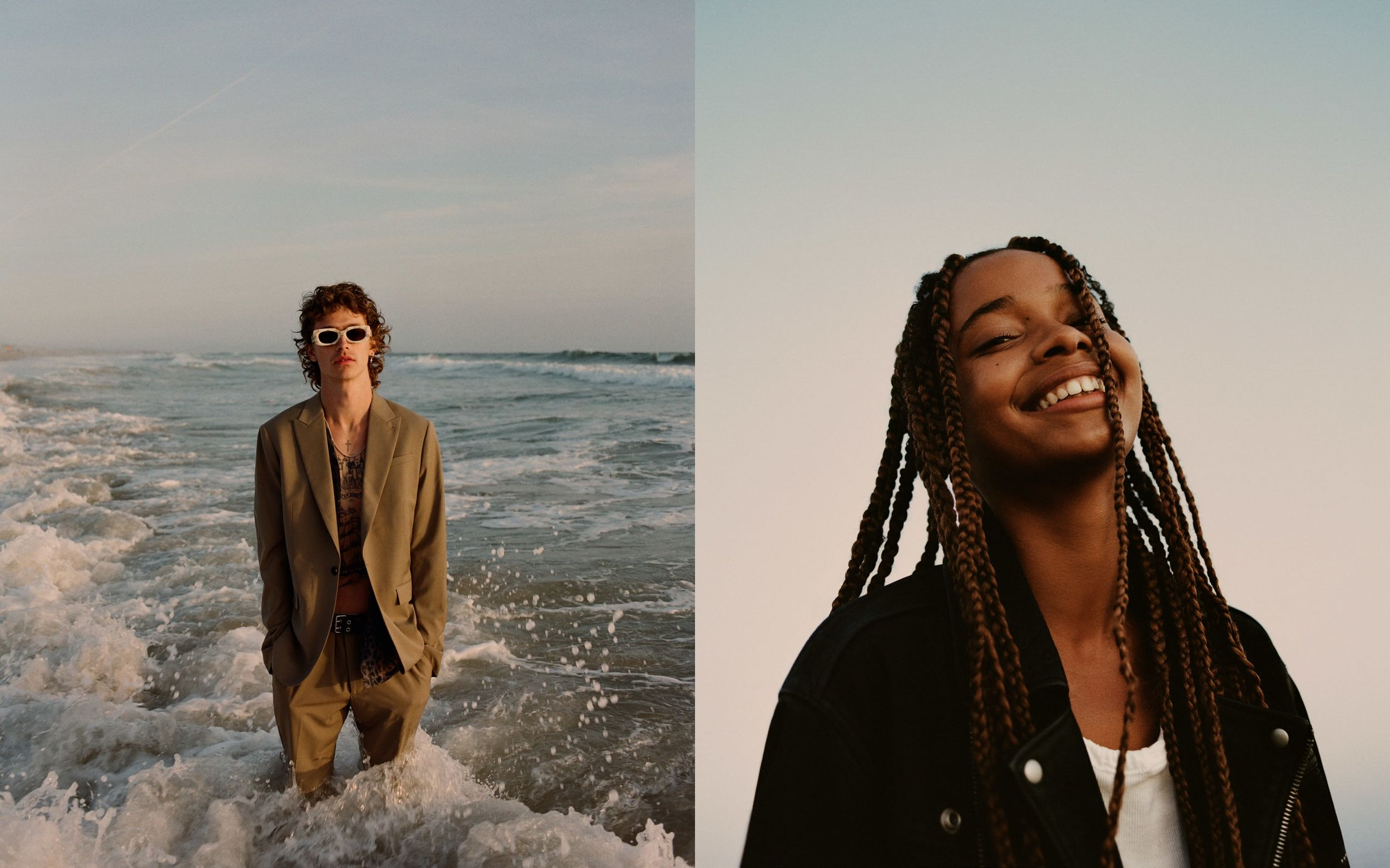 Two portraits of a woman and a man wearing items from our latest collection.