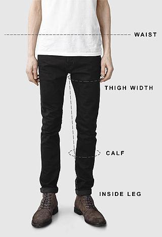 Men's jeans size guide