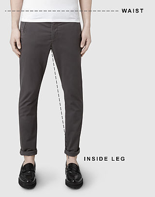 Men's trousers and shorts size guide