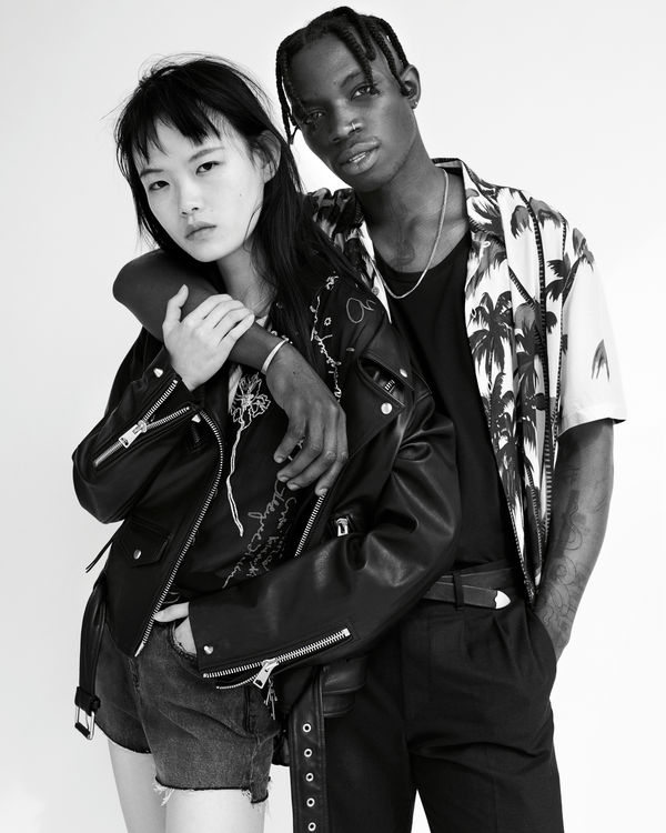 Photograph from our latest Biker Portraits series, featuring a young man and woman posing together wearing items from our latest collection.