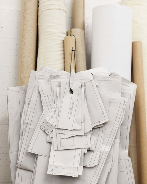Rolls of fabric and patterns.