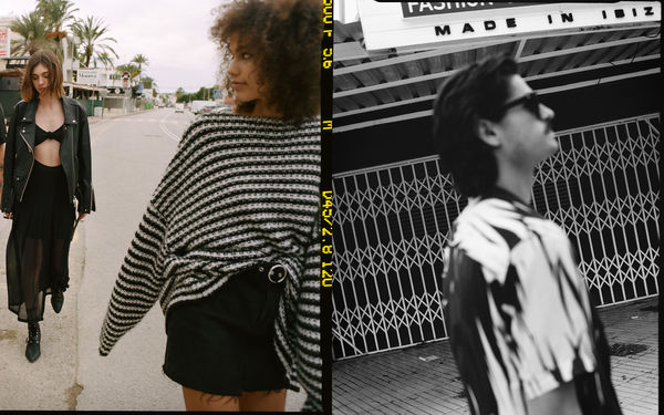 Pair of photographs from our latest campaign shot in Ibiza, featuring two women walking the streets wearing monochrome outfits from our latest spring collection, and a man wearing a new graphic shirt.
