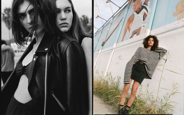 A pair of photographs from our latest campaign shot in Ibiza, featuring a black and white portrait of two women wearing monochrome outfits from our latest spring collection, and an image of a woman leaning against a wall wearing an oversized knit paired with a black denim skirt.