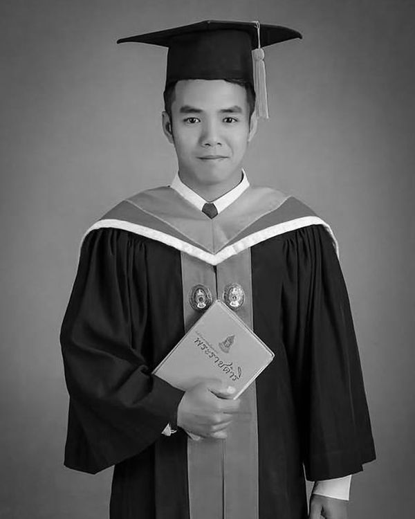 Black and white photo of Galow on his graduation day.