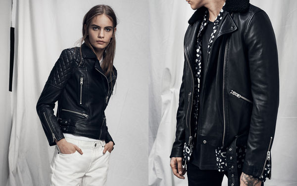 Lookbook image of a woman standing and wearing a black leather jacket and white jeans and lookbook image of a man wearing a black leather jacket with a shearling collar, undone over a printed shirt.