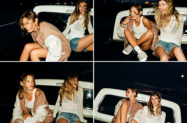 The Road Trip Part 4 - Set of four different images of the two blonde girls at the back of the moving pick up.