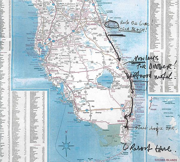 The Road Trip - Map of South Florida with a planned road trip from Orlando to Miami, including a few stops and notes