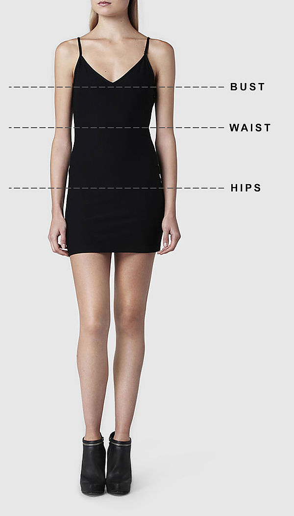 What is the dress size for the measurements 34 32 38?