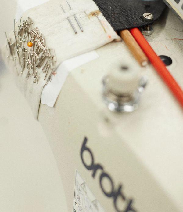 Close up of a sewing machine.