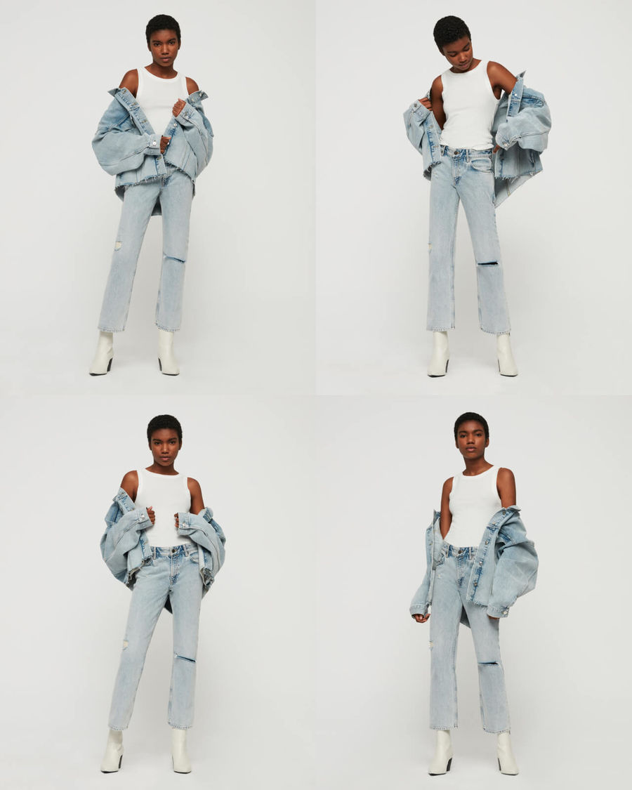 Four mini pictures of a woman standing in front of a white wall wearing a pair of high waisted jeans with a white tank and a light denim jacket.