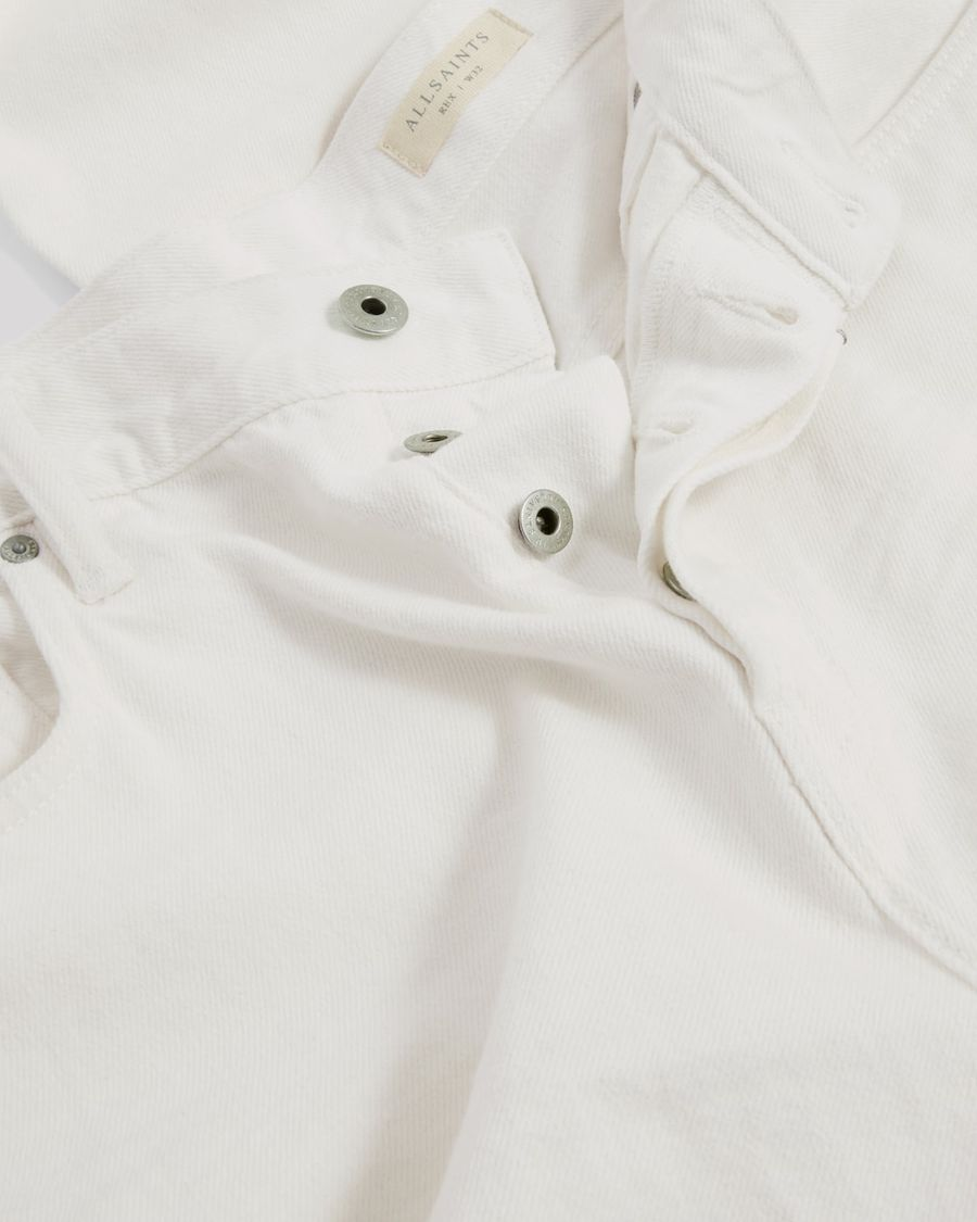 Close up of the top of our white Rex Slim jeans.