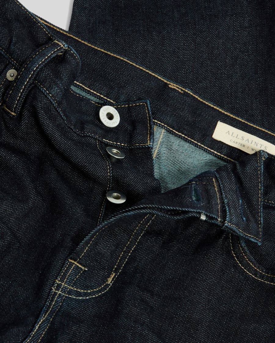 Close up of the top of our dark blue denim straight jeans.