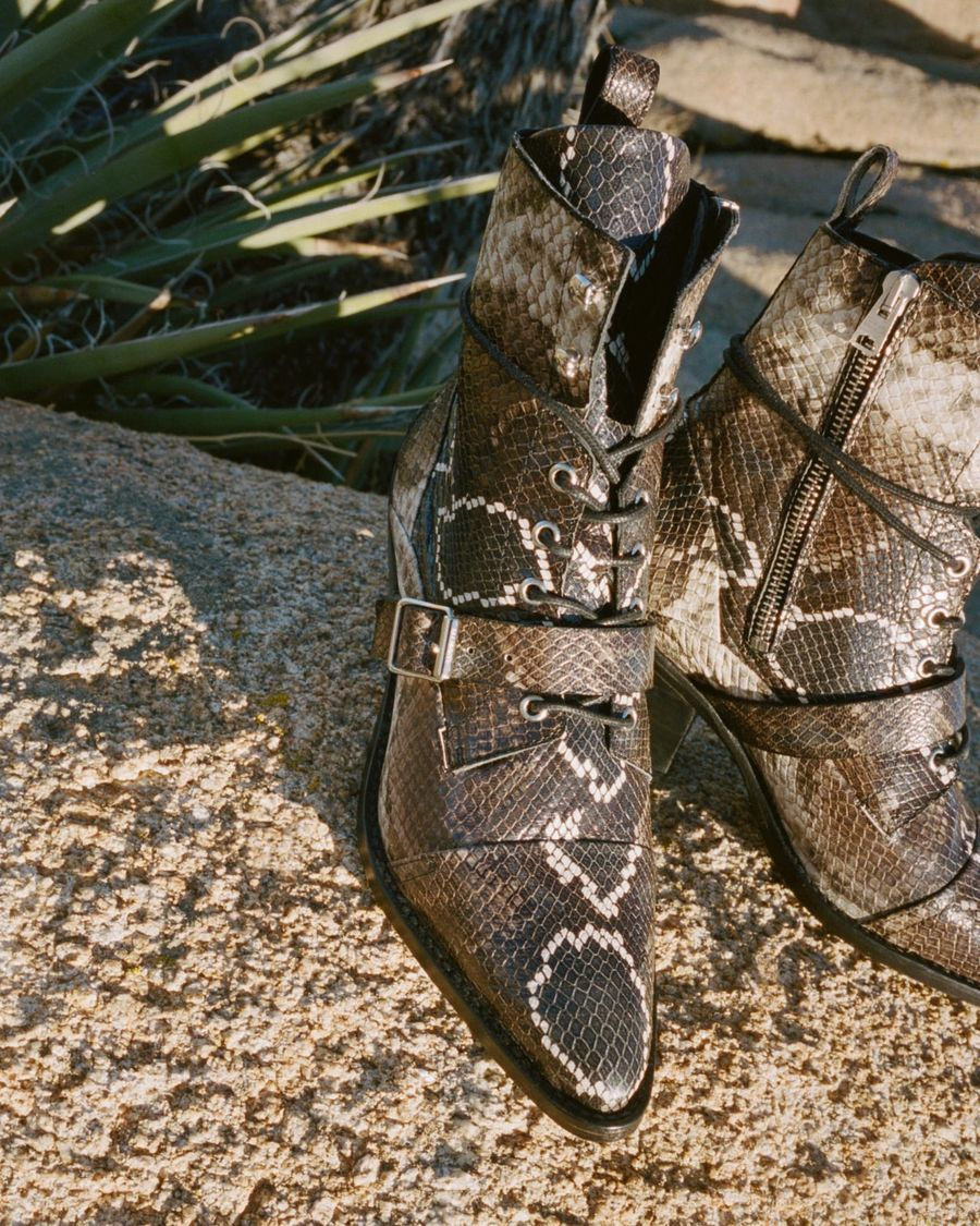 Close up of the Katy Snake Boots with a desert background.