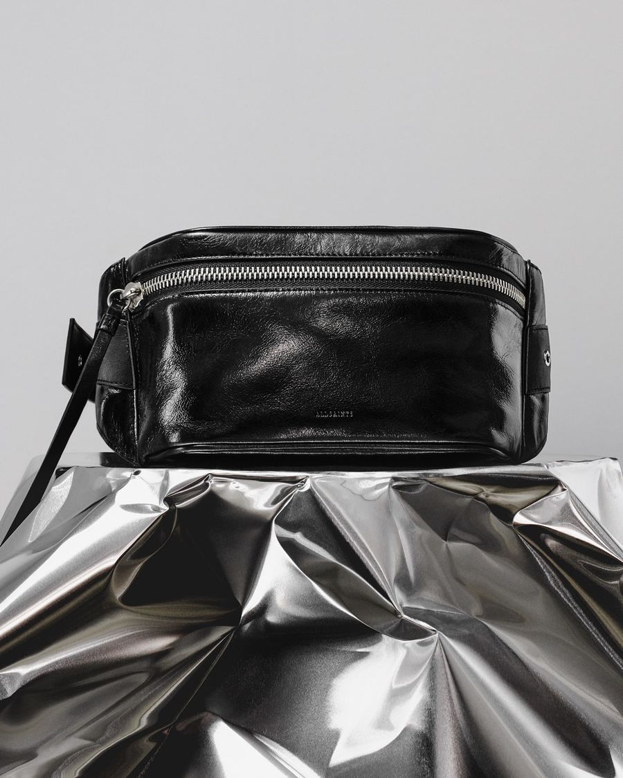 Image of our black leather Clip bumbag.