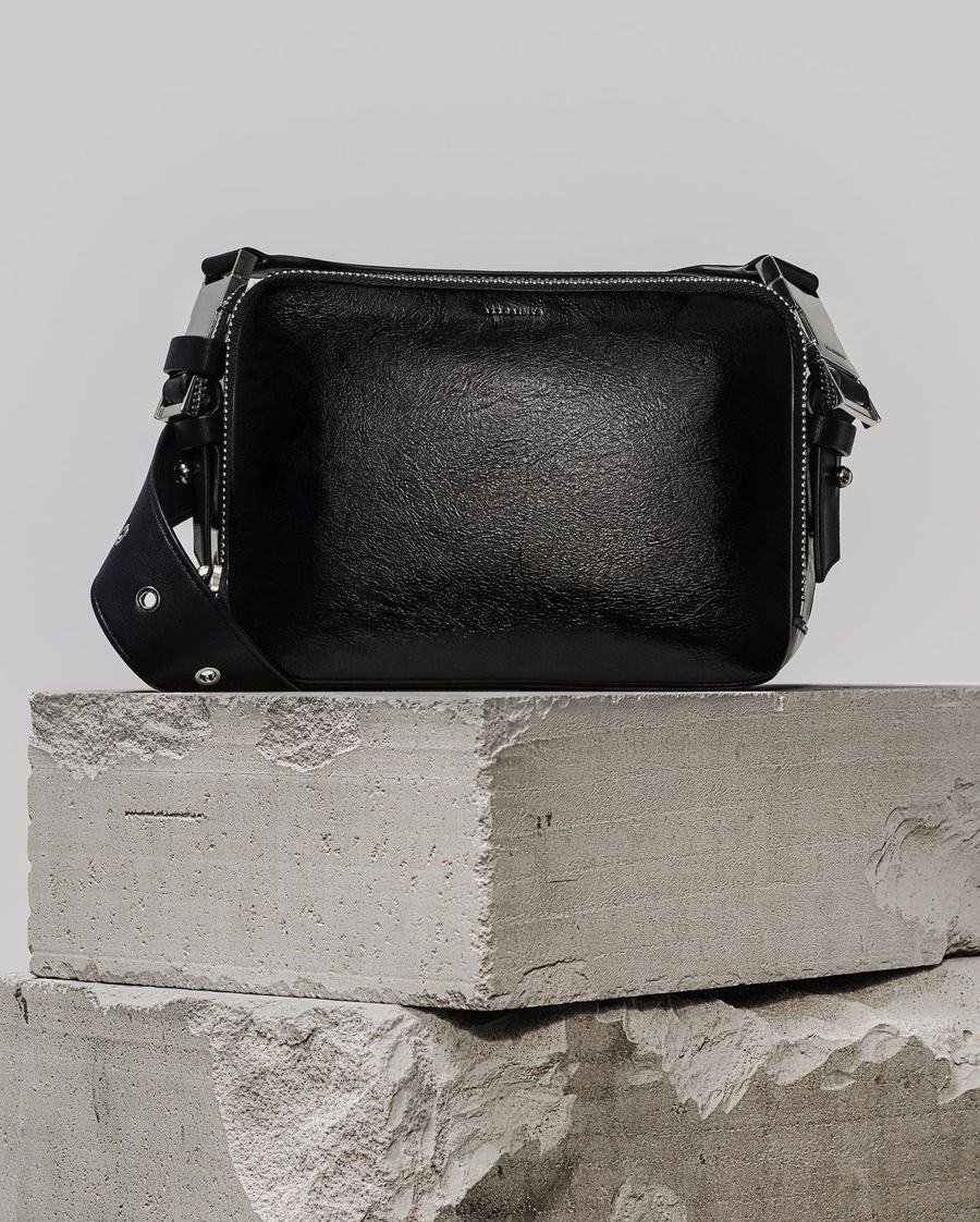 Image of our 2-in-1 black leather Clip Shiny Bumbag Crossbody Bag.