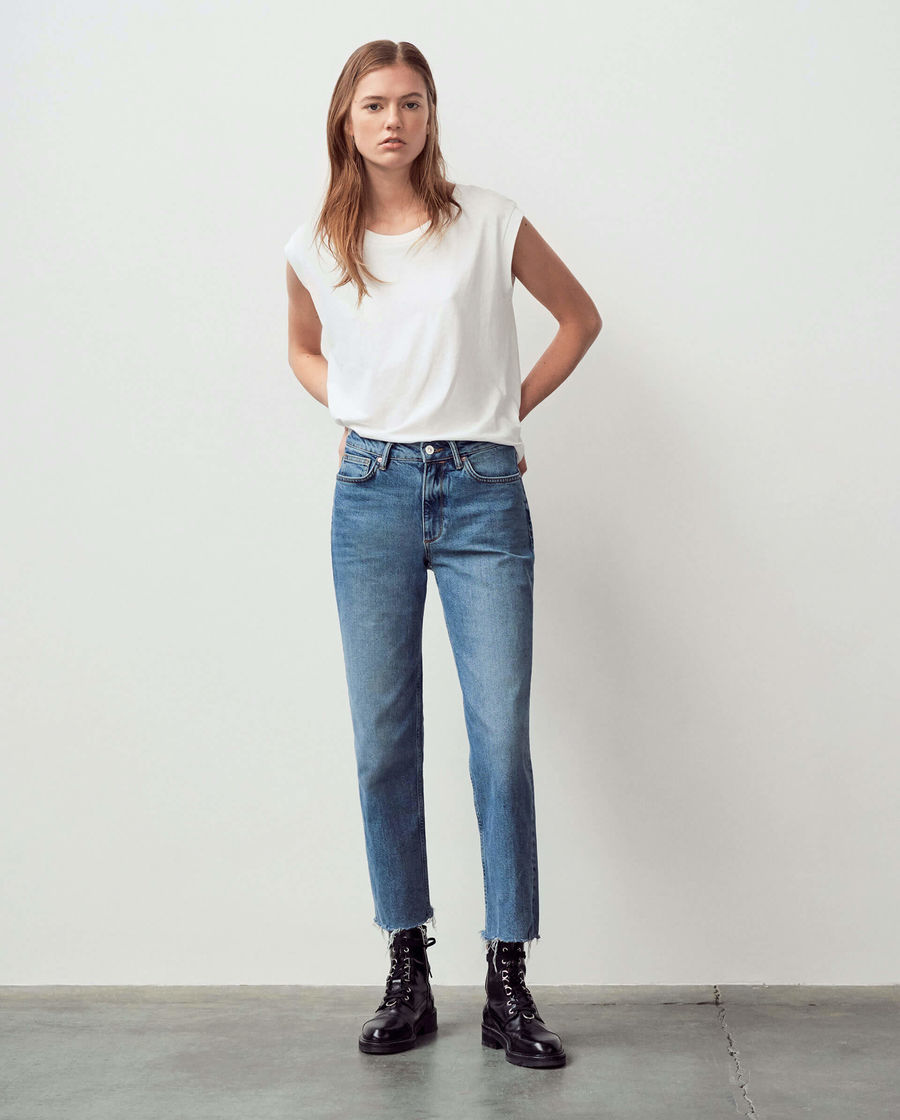 Discover our high-rise straight leg Harper jeans.