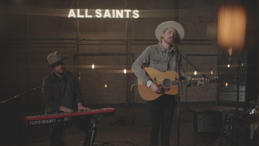 Picture of Jamie N Commons playing during our latest La sessions recording and wearing items from our men's collection.