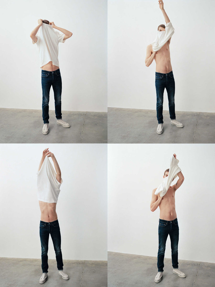 Four images of a man wearing dark denim jeans putting on and removing a white t-shirt.